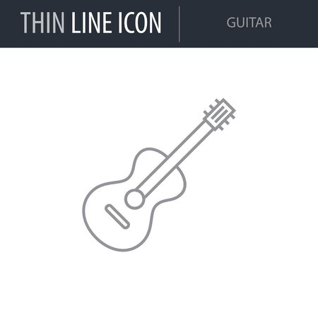 Symbol of Guitar. Thin line Icon of College. Stroke Pictogram Graphic for Web Design. Quality Outline Vector Symbol Concept. Premium Mono Linear Beautiful Plain Laconic Logo Illusztráció