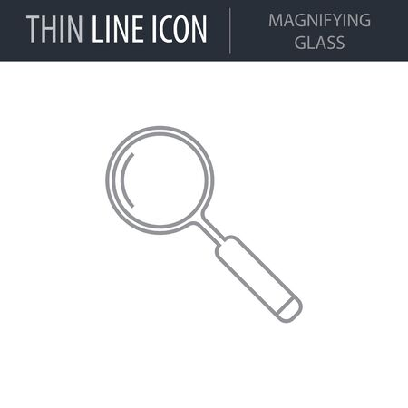 Symbol of Magnifying Glass. Thin line Icon of College. Stroke Pictogram Graphic for Web Design. Quality Outline Vector Symbol Concept. Premium Mono Linear Beautiful Plain Laconic Logo