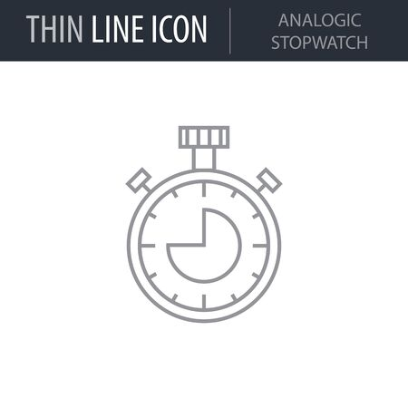 Symbol of Analogic Stopwatch. Thin line Icon of College. Stroke Pictogram Graphic for Web Design. Quality Outline Vector Symbol Concept. Premium Mono Linear Beautiful Plain Laconic Logo Illustration