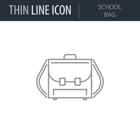 Symbol of School Bag. Thin line Icon of College. Stroke Pictogram Graphic for Web Design. Quality Outline Vector Symbol Concept. Premium Mono Linear Beautiful Plain Laconic Logo Illusztráció
