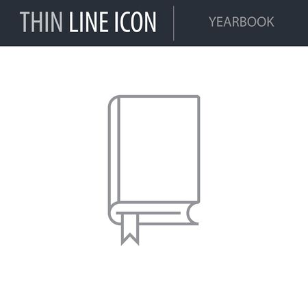 Symbol of Yearbook. Thin line Icon of College. Stroke Pictogram Graphic for Web Design. Quality Outline Vector Symbol Concept. Premium Mono Linear Beautiful Plain Laconic Logo
