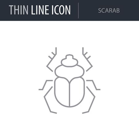 Symbol of Scarab. Thin line Icon of Insect. Stroke Pictogram Graphic for Web Design. Quality Outline Vector Symbol Concept. Premium Mono Linear Beautiful Plain Laconic Logo