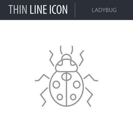Symbol of Ladybug. Thin line Icon of Insect. Stroke Pictogram Graphic for Web Design. Quality Outline Vector Symbol Concept. Premium Mono Linear Beautiful Plain Laconic Logo