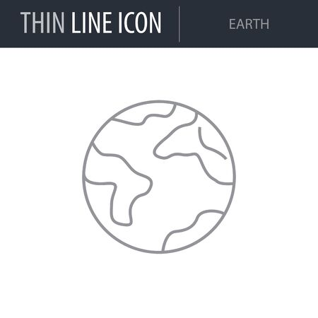 Symbol of Earth Thin line Icon of Set of Space. Stroke Pictogram Graphic for Web Design. Quality Outline Vector Symbol Concept. Premium Mono Linear Beautiful Plain Laconic Logo