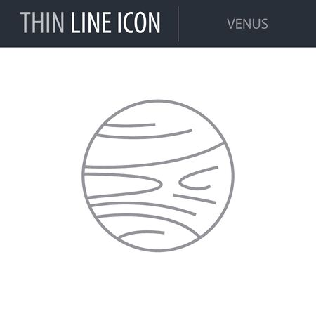 Symbol of Venus. Thin line Icon of Set of Space. Stroke Pictogram Graphic for Web Design. Quality Outline Vector Symbol Concept. Premium Mono Linear Beautiful Plain Laconic Logo Illustration