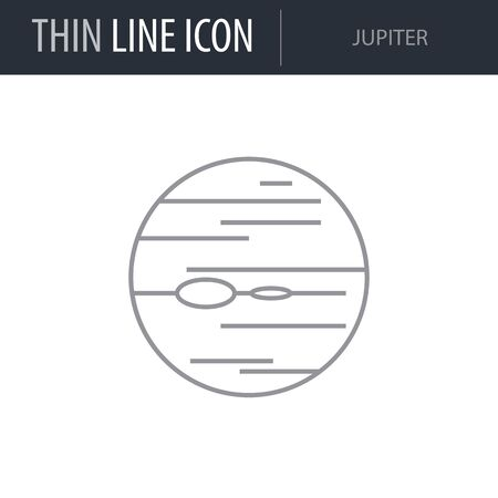 Symbol of Jupiter. Thin line Icon of Set of Space. Stroke Pictogram Graphic for Web Design. Quality Outline Vector Symbol Concept. Premium Mono Linear Beautiful Plain Laconic Logo
