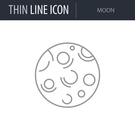 Symbol of Moon. Thin line Icon of Set of Space. Stroke Pictogram Graphic for Web Design. Quality Outline Vector Symbol Concept. Premium Mono Linear Beautiful Plain Laconic Logo Illustration