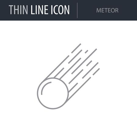 Symbol of Meteor. Thin line Icon of Set of Space. Stroke Pictogram Graphic for Web Design. Quality Outline Vector Symbol Concept. Premium Mono Linear Beautiful Plain Laconic Logo  イラスト・ベクター素材