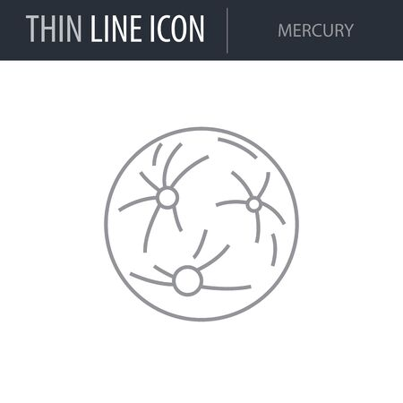 Symbol of Mercury. Thin line Icon of Set of Space. Stroke Pictogram Graphic for Web Design. Quality Outline Vector Symbol Concept. Premium Mono Linear Beautiful Plain Laconic Logo