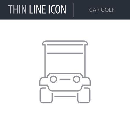 Symbol of Car Golf. Thin line Icon of Transportation. Stroke Pictogram Graphic for Web Design. Quality Outline Vector Symbol Concept. Premium Mono Linear Beautiful Plain Laconic Logo