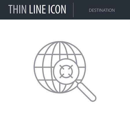 Symbol of Destination. Thin line Icon of of Tourism And Travel. Stroke Pictogram Graphic for Web Design. Quality Outline Vector Symbol Concept. Premium Mono Linear Beautiful Plain Laconic Logo