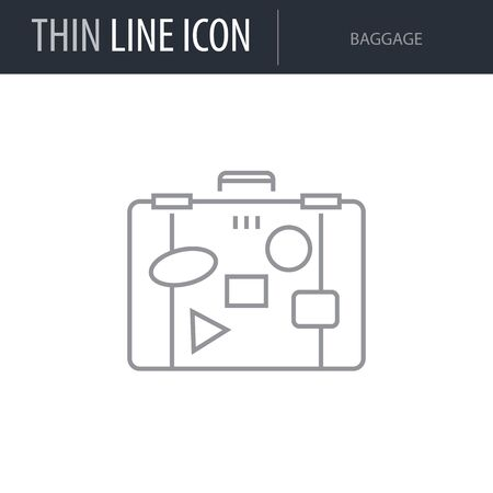 Symbol of Baggage. Thin line Icon of of Tourism And Travel. Stroke Pictogram Graphic for Web Design. Quality Outline Vector Symbol Concept. Premium Mono Linear Beautiful Plain Laconic Logo Illusztráció