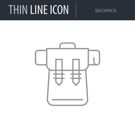 Symbol of Backpack. Thin line Icon of of Tourism And Travel. Stroke Pictogram Graphic for Web Design. Quality Outline Vector Symbol Concept. Premium Mono Linear Beautiful Plain Laconic Logo
