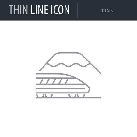 Symbol of Train. Thin line Icon of of Tourism And Travel. Stroke Pictogram Graphic for Web Design. Quality Outline Vector Symbol Concept. Premium Mono Linear Beautiful Plain Laconic Logo Ilustrace