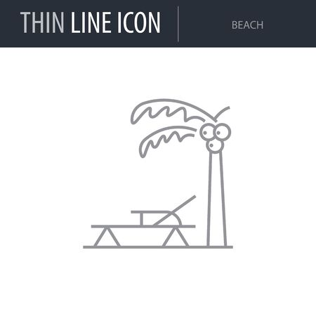Symbol of Beach. Thin line Icon of of Tourism And Travel. Stroke Pictogram Graphic for Web Design. Quality Outline Vector Symbol Concept. Premium Mono Linear Beautiful Plain Laconic Logo