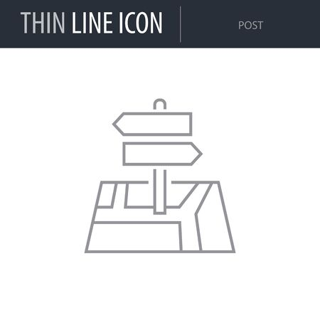 Symbol of Post. Thin line Icon of of Tourism And Travel. Stroke Pictogram Graphic for Web Design. Quality Outline Vector Symbol Concept. Premium Mono Linear Beautiful Plain Laconic Logo