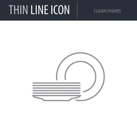 Symbol of Clean Dishes. Thin line Icon of Set of Kitchen. Stroke Pictogram Graphic for Web Design. Quality Outline Vector Symbol Concept. Premium Mono Linear Beautiful Plain Laconic Logo Illustration