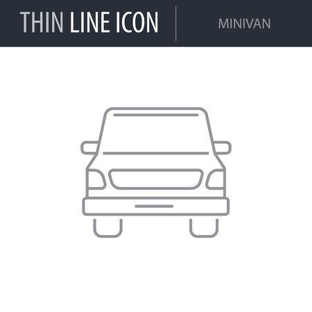 Symbol of Minivan. Thin line Icon of Transportation. Stroke Pictogram Graphic for Web Design. Quality Outline Vector Symbol Concept. Premium Mono Linear Beautiful Plain Laconic Logo Banque d'images - 125064455