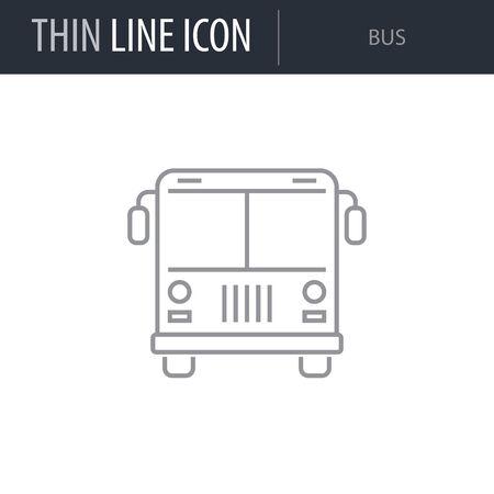 Symbol of Bus. Thin line Icon of Transportation. Stroke Pictogram Graphic for Web Design. Quality Outline Vector Symbol Concept. Premium Mono Linear Beautiful Plain Laconic Logo