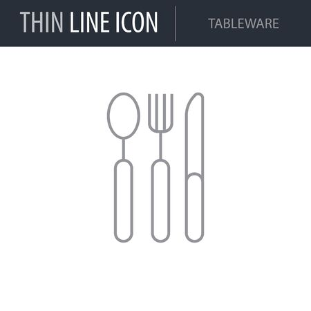 Symbol of Tableware. Thin line Icon of Kitchen Utensils. Stroke Pictogram Graphic for Web Design. Quality Outline Vector Symbol Concept. Premium Mono Linear Beautiful Plain Laconic Logo.  イラスト・ベクター素材