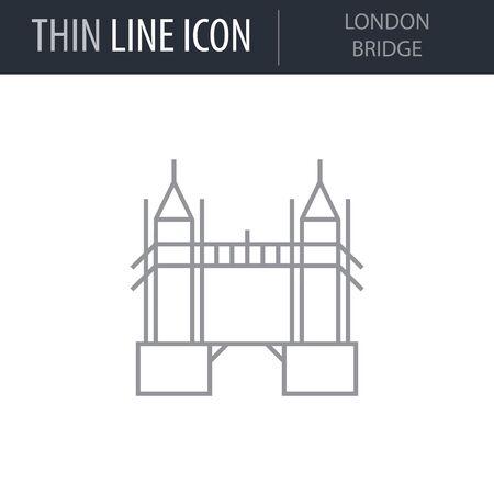 Symbol of London Bridge. Thin line Icon of Landmark Set. Stroke Pictogram Graphic for Web Design. Quality Outline Vector Symbol Concept. Premium Mono Linear Beautiful Plain Laconic Logo