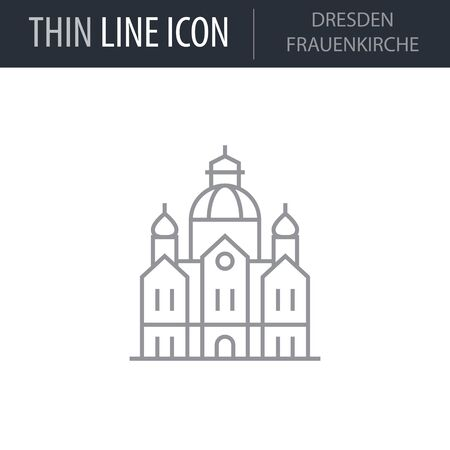 Symbol of Dresden Frauenkirche. Thin line Icon of Landmark Set. Stroke Pictogram Graphic for Web Design. Quality Outline Vector Symbol Concept. Premium Mono Linear Beautiful Plain Laconic Logo