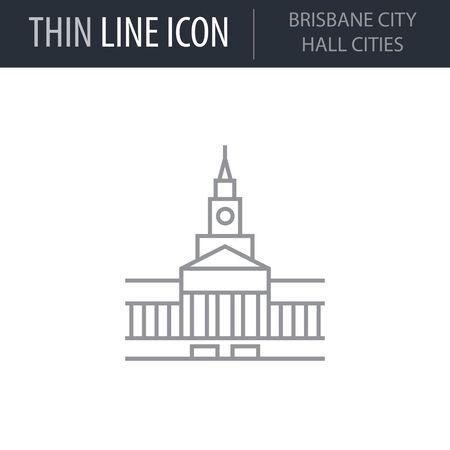 Symbol of Brisbane City Hall Cities. Thin line Icon of Landmark Set. Stroke Pictogram Graphic for Web Design. Quality Outline Vector Symbol Concept. Premium Mono Linear Beautiful Plain Laconic Logo