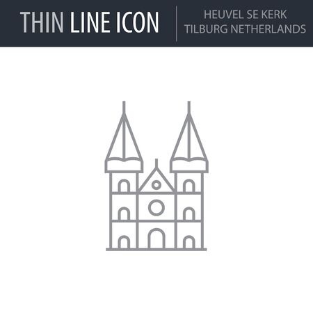 Symbol of Heuvel Se Kerk Tilburg Netherlands. Thin line Icon of Landmark Set. Stroke Pictogram Graphic for Web Design. Quality Outline Vector Symbol Concept. Premium Mono Linear Beautiful Plain