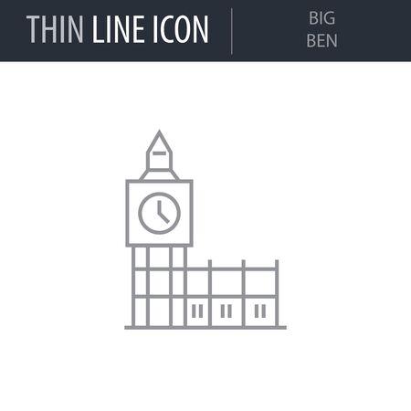 Symbol of Big Ben. Thin line Icon of Landmark Set. Stroke Pictogram Graphic for Web Design. Quality Outline Vector Symbol Concept. Premium Mono Linear Beautiful Plain Laconic Logo Ilustrace