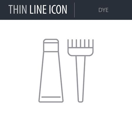 Symbol of Dye. Thin line Icon of Hairdressing Salon. Stroke Pictogram Graphic for Web Design. Quality Outline Vector Symbol Concept. Premium Mono Linear Beautiful Plain Laconic Logo