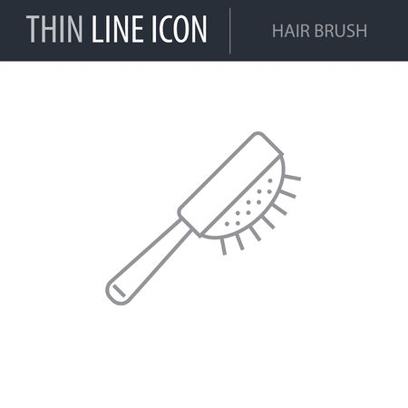 Symbol of Hair Brush. Thin line Icon of Hairdressing Salon. Stroke Pictogram Graphic for Web Design. Quality Outline Vector Symbol Concept. Premium Mono Linear Beautiful Plain Laconic Logo Illustration