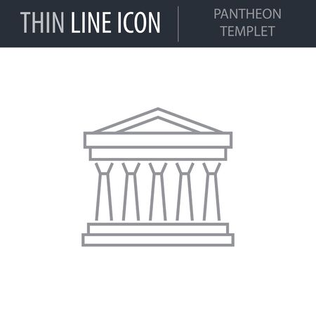 Symbol of Pantheon Templet. Thin line Icon of Landmark Set. Stroke Pictogram Graphic for Web Design. Quality Outline Vector Symbol Concept. Premium Mono Linear Beautiful Plain Laconic Logo