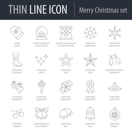 Icons Set of Merry Christmas. Symbol of Intelligent Thin Line Image Pack. Stroke Pictogram Graphic for Web Design. Quality Outline Vector Symbol Concept Collection. Premium Mono