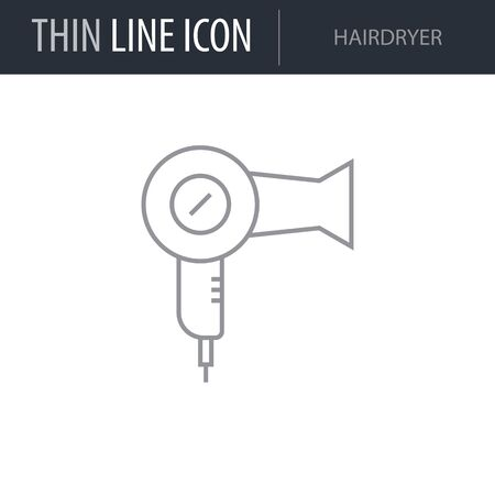 Symbol of Hairdryer. Thin line Icon of Hairdressing Salon. Stroke Pictogram Graphic for Web Design. Quality Outline Vector Symbol Concept. Premium Mono Linear Beautiful Plain Laconic Logo