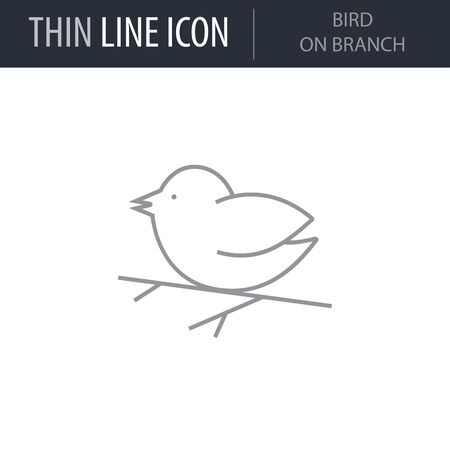 Symbol of Bird On Branch. Thin line Icon of Merry Christmas. Stroke Pictogram Graphic for Web Design. Quality Outline Vector Symbol Concept. Premium Mono Linear Beautiful Plain Laconic Logo