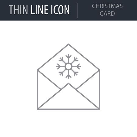 Symbol of Christmas Card. Thin line Icon of Merry Christmas. Stroke Pictogram Graphic for Web Design. Quality Outline Vector Symbol Concept. Premium Mono Linear Beautiful Plain Laconic Logo Ilustrace