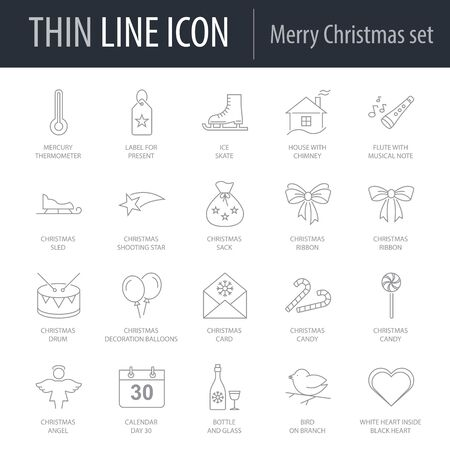 Icons Set of Merry Christmas. Symbol of Intelligent Thin Line Image Pack. Stroke Pictogram Graphic for Web Design. Quality Outline Vector Symbol Concept Collection