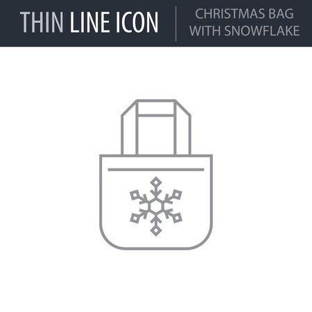 Symbol of Christmas Bag With Snowflake. Thin line Icon of Merry Christmas. Stroke Pictogram Graphic for Web Design. Quality Outline Vector Symbol Concept. Premium Mono Linear Beautiful Plain