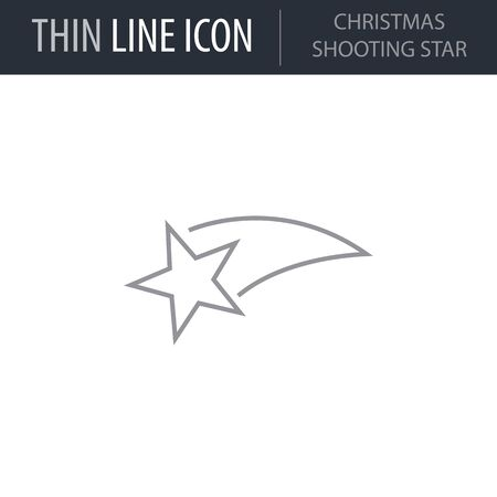 Symbol of Christmas Shooting Star. Thin line Icon of Merry Christmas. Stroke Pictogram Graphic for Web Design. Quality Outline Vector Symbol Concept. Premium Mono Linear Beautiful Plain