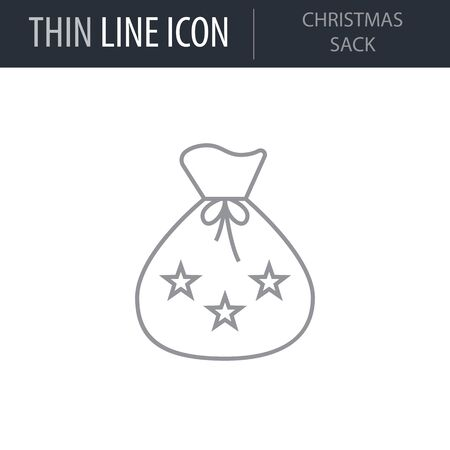 Symbol of Christmas Sack. Thin line Icon of Merry Christmas. Stroke Pictogram Graphic for Web Design. Quality Outline Vector Symbol Concept. Premium Mono Linear Beautiful Plain Laconic Logo