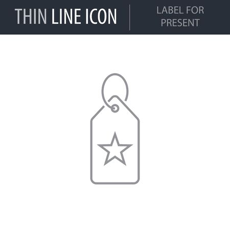 Symbol of Label For Present. Thin line Icon of Merry Christmas. Stroke Pictogram Graphic for Web Design. Quality Outline Vector Symbol Concept. Premium Mono Linear Beautiful Plain Laconic