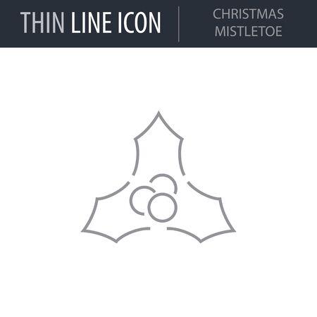 Symbol of Christmas Mistletoe. Thin line Icon of Merry Christmas. Stroke Pictogram Graphic for Web Design. Quality Outline Vector Symbol Concept. Premium Mono Linear Beautiful Plain Illustration