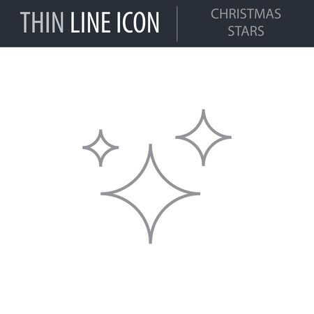 Symbol of Christmas Stars. Thin line Icon of Merry Christmas. Stroke Pictogram Graphic for Web Design. Quality Outline Vector Symbol Concept. Premium Mono Linear Beautiful Plain Laconic Logo