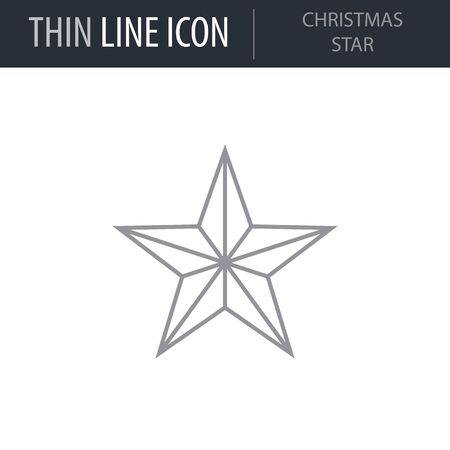Symbol of Christmas Star. Thin line Icon of Merry Christmas. Stroke Pictogram Graphic for Web Design. Quality Outline Vector Symbol Concept. Premium Mono. Illustration