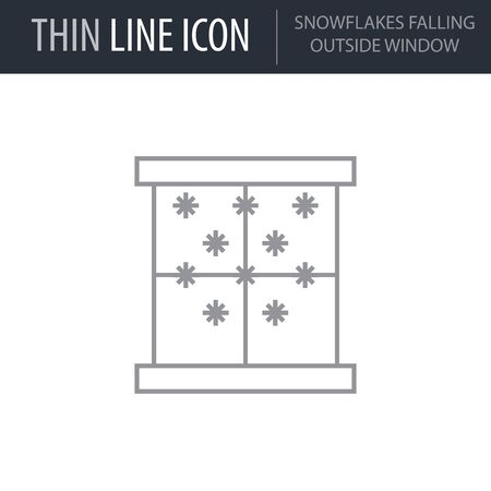 Symbol of Snowflakes Falling Outside. Thin line Icon of Merry Christmas. Stroke Pictogram Graphic for Web Design. Quality Outline Vector Symbol Concept. Premium Mono Linear Beautiful Plain Illusztráció