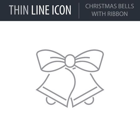 Symbol of Christmas Bells With Ribbon. Thin line Icon of Merry Christmas. Stroke Pictogram Graphic for Web Design. Quality Outline Vector Symbol Concept. Premium Mono Linear Beautiful Plain