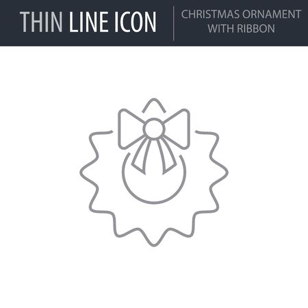 Symbol of Christmas Ornament With Ribbon. Thin line Icon of Merry Christmas. Stroke Pictogram Graphic for Web Design. Quality Outline Vector Symbol Concept. Premium Mono Linear Beautiful Illustration