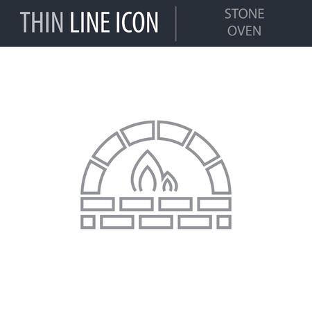 Symbol of Stone Oven. Thin line Icon of Merry Christmas. Stroke Pictogram Graphic for Web Design. Quality Outline Vector Symbol Concept. Premium Mono Linear Beautiful Plain Laconic Logo Foto de archivo - 125065535