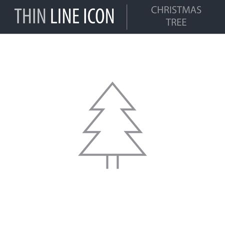 Symbol of Christmas Tree. Thin line Icon of Merry Christmas. Stroke Pictogram Graphic for Web Design. Quality Outline Vector Symbol Concept. Premium Mono Linear Beautiful Plain Laconic Logo