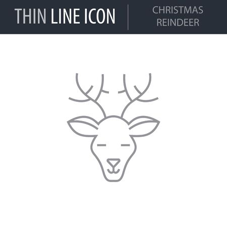Symbol of Christmas Raindeer. Thin line Icon of Merry Christmas. Stroke Pictogram Graphic for Web Design. Quality Outline Vector Symbol Concept. Premium Mono Linear Beautiful Plain Laconic
